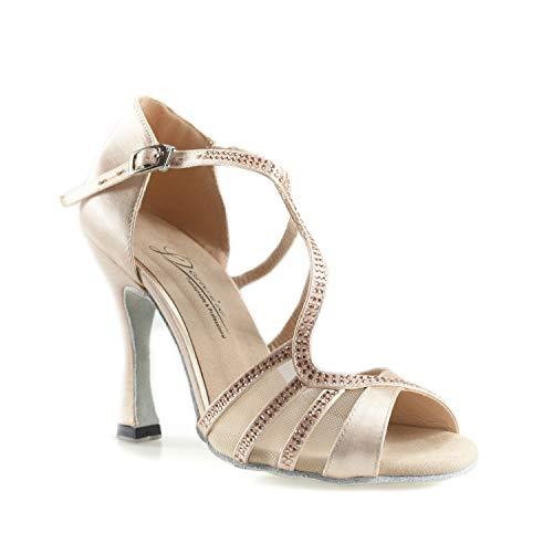 Dancine Pro Ballroom Latin Salsa Bachata Dance Shoes,Double-Layer Heel Tip,3