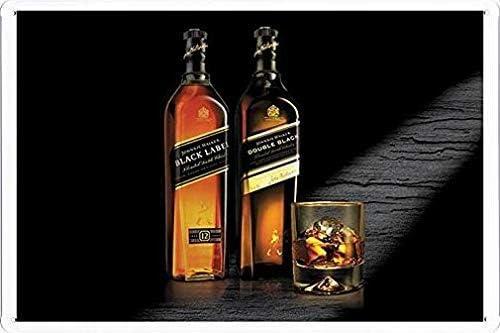 Johnnie Walker Whiskey Black and Double Black Decor Retro Metal Vintage Sign