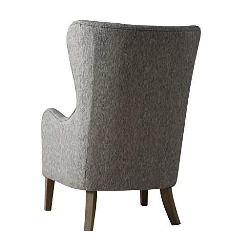 Madison Park FPF18-0429 Arianna Accent Hardwood, Faux Linen Modern Contemporary Style Living Room Sofa Furniture Swoop Wing Arm Bedroom Chairs Seats, Deep, Grey
