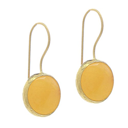 (Bronze & Yellow Agate Circle Round Button Drop Earrings)