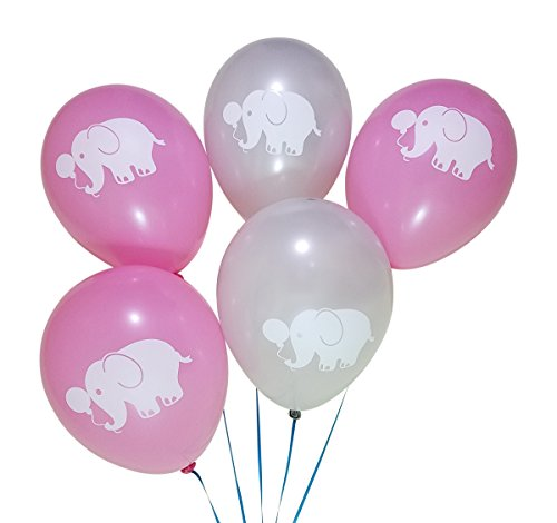 Elephant Balloons for Birthday Party or Girls Baby Shower - 25 Pack - Pink, Grey