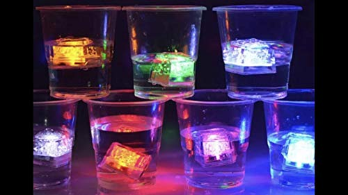 (12 Pack) Flash Multi Color Light-Up LED Ice Cubes with Free Party Planning, Cocktails, Appetizer, Recipe EBook ()