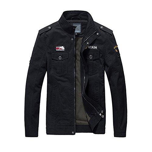 H.T.Niao Jacket9929C2 Men 's Fashion Military Jacket Cold(Black,Size M) (Devil Makeup Stack)
