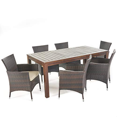 Great Deal Furniture TAFT Outdoor 7 Piece Dining Set with Dark Brown Finished Wood Table and Multibrown Wicker Dining Chairs with Beige Water Resistant Cushions Review
