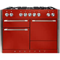 AGA AMC48DF Mercury Series 48 Inch Wide 6 Cu. Ft. Slide In Dual Fuel Range with, Scarlet
