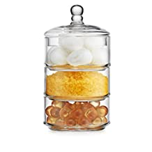 Elegant Home 3 Tier Stackable Clear Glass Candy Dishes / Cookie Holders / Apothecary Jars / Cotton Swab Holder with Lid