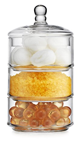 - Elegant Home 3 Tier Stackable Clear Glass Candy Dishes / Cookie Holders / Apothecary Jars / Cotton Swab Holder with Lid