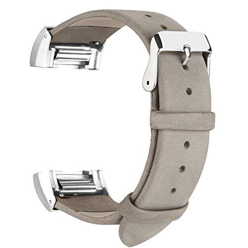 iGK Leather Replacement Bands Compatible for Fitbit Charge 2, Genuine Leather Wristbands Matte Grey with Metal