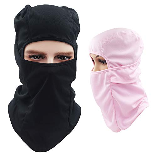 Dseap Balaclava Hood/Skiing Face Mask, 2 Packs Multi-Purpose Thin Breathable Winter Cold Weather Motorcycle Bike Bicycle Helmet Cycling for Youth Adult Women Ladies Men, Black & Pink