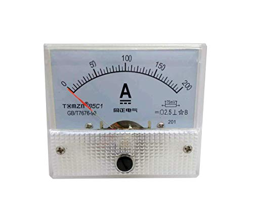 YXQ 0-200A Analog Current Panel 85C1-A Amp Ammeter Gauge Meter 2.5 Accuracy 75mV for Auto Circuit Measurement Tester (DC 200A)