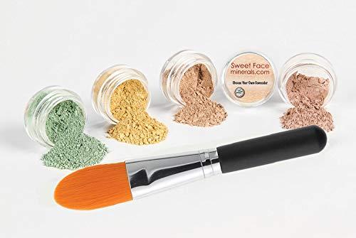 - CONCEALER & CORRECTOR KIT with BRUSH Mineral Makeup Set Bare Skin Matte Powder (5 gram Sample Size Jars, Medium Concealer)