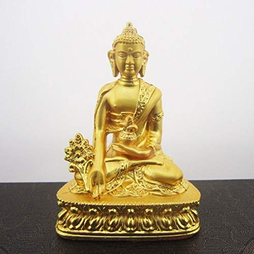 Kiartten Buddha Statue - Durable Efficacious Alloy Metal Buddhist Suppliers Handle Gold Pharmacist Buddha Statue Home/Office Putting Decoration - Gold Buddhist Statues