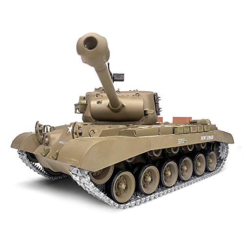 Pro Edition Remote Control 2.4Ghz 1/16 Scale US Army M26 Pershing RC Heavy Tank with Metal Gear Tracks, Airsoft RC Tank