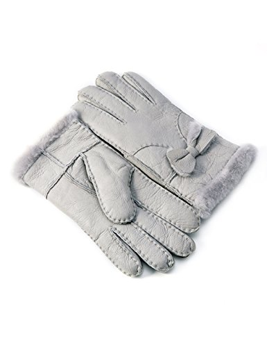 0cf84cfa9 YISEVEN Women's Rugged Shearling Sheepskin Leather Gloves Cute Bow Mittens  Sherpa Fur Cuff Thick Wool Lined