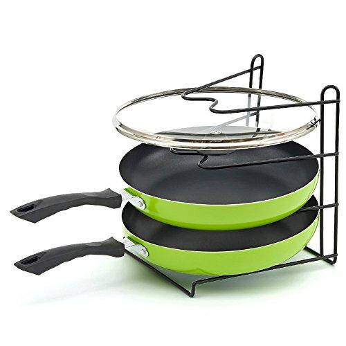 Pan Rack, EZOWare Rustproof Vinyl Coated Kitchen Pantry Cabinet Countertop Kitchenware Cookware Organizer Shelf Rack Holder - 3 Tier
