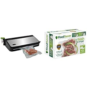 "FoodSaver FM2435-ECR Vacuum Sealing System with Bonus Handheld Sealer and Starter Kit, Silver & FoodSaver 8"" & 11"" Rolls with unique multi layer construction, BPA free, Multi-Pack"