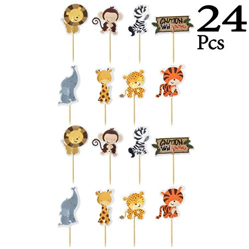 Jungle Animals Foil Latex Balloons Birthday Party Decorations Lion Tiger Monkey Zebra Giraffe Cow SAFARI ZOO Cupcake Toppers Pack of 34 by SAKIBO (Image #3)