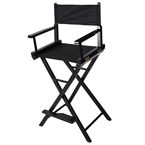New Professional Makeup Artist Directors Chair Wood Light Weight Foldable Black by unbranded
