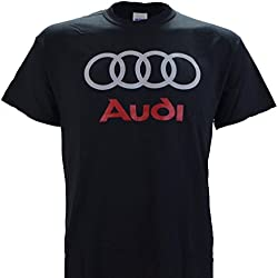Audi Logo on a Black T Shirt, L