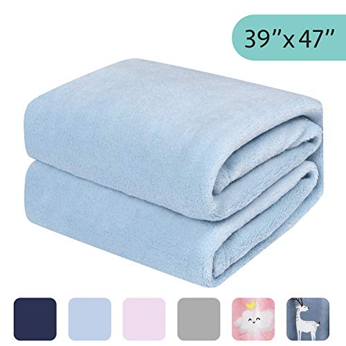 28 x 40, Light Gray soft warm cozy coral fleece toddler travel Fuzzy blanket or fluffy blanket for baby girl or boy infant or newborn receiving blanket for crib outdoor decorative 28 x 40 in /¡/ stroller