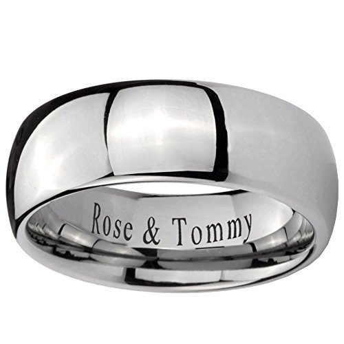 Free Laser Engraving 8MM Tungsten Carbide Classic Mirror Dome Ring Size 7.5