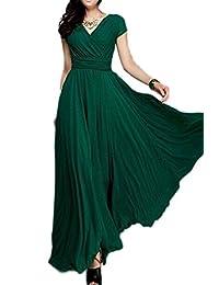 Women's Elegant Boho Short Sleeve Deep V Neck Plus Size Skater Maxi Dress