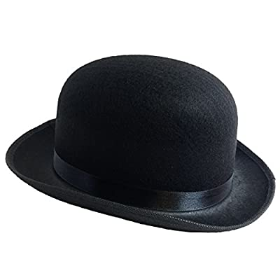 Dress Up Hats for Adults - Costume Party Hats for Men Women Unisex BY Funny Party Hats (Black Derby Bowler Top Hat)