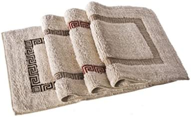 Home Line Alfombra para baño de algodón - Modelo greca (60x40 cm) - Beige: Amazon.es: Hogar
