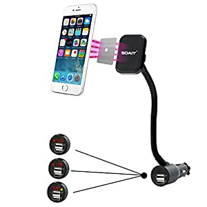 SOAIY 3-In-1 Cigarette Lighter Magnet Car Mount + Car Charger + Voltage Detector, Car Holder Cradle w/ Dual USB 3.1A Charger, LED Display Voltage Current for iPhone8 X 6s 6 5s Samsung S8 plus S7 S6 S5