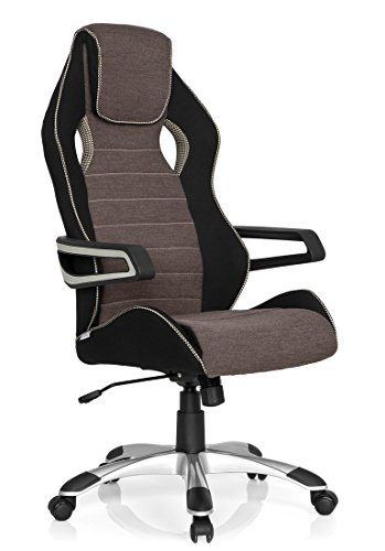 hjh OFFICE 621847 Gaming Stuhl / Bürostuhl RACER PRO III Stoff schwarz/grau/beige