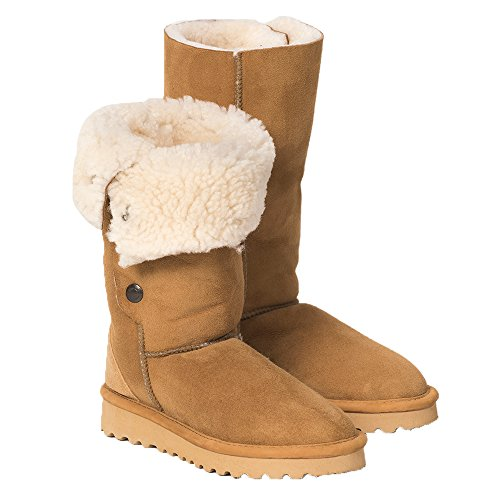 Celtic & Co. Womens British Shearling Popper Detail Calf Height Boots - Spice - 10