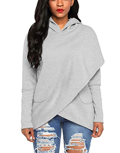 Asvivid Women's Long Sleeve Asymmetrical Hoodies Wrap Outerwear Pullover Sweatshirts with Pockets S Grey