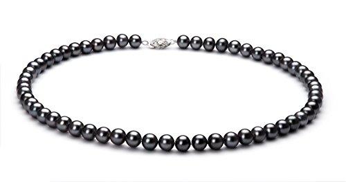 Noir 6-7mm AA-qualité perles d'eau douce 925/1000 Argent-un set en perles