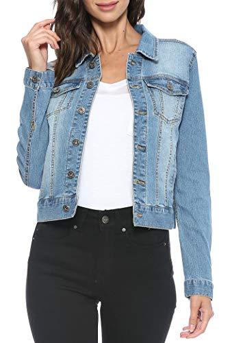 Urban Look Women's Casual Stretch Denim Jean Jacket (Large, D Medium) (Jacket Jean Women)