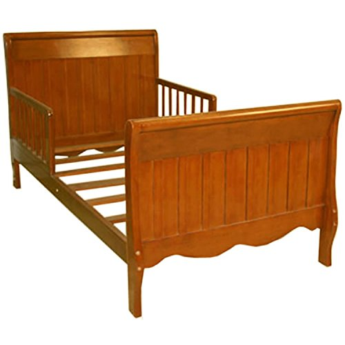 Angel Line Sleigh Toddler Bed with Solid Panel in Oak Finish