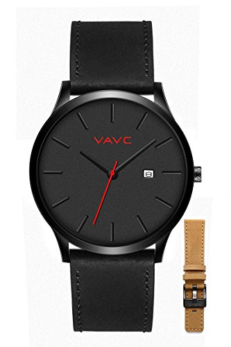 Black Leather Analog (VAVC Men's Black Leather Band Causal Analog Dress Quartz Wrist Watch with Black Face and Simple Design)