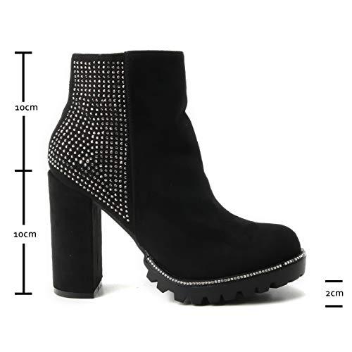 Schuhe Strass hoher Blockabsatz Pumps Profilsohle Wildlederimitat Stiefel Stiefeletten matt Glänzend Absatzstiefelette Black Damen Absatz Glitzer HERIXO XnR5P