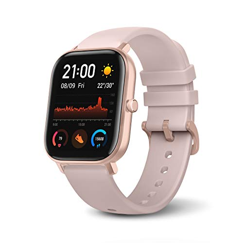 Amazfit GTS Smartwatch with 14-Day Battery Life,1.65 Inch AMOLED Display, Customizable Widgets, Slim Metal Body, 5 ATM Water Resistance, 24/7 Heart Rate and Activity Tracking, Rose Pink