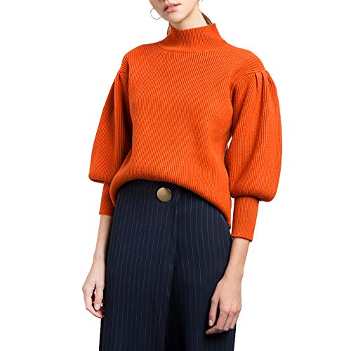 - Vero Viva Women's Vintage Puff Sleeve Knit Casual Pullover Sweater High Neck Rib(S,Orange)