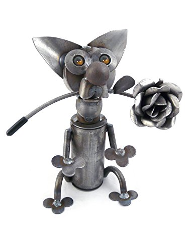 Yardbirds Latin Lover - American Made Recycled Metal Art Chihuahua Dog Sculpture, Indoor/Outdoor, 9
