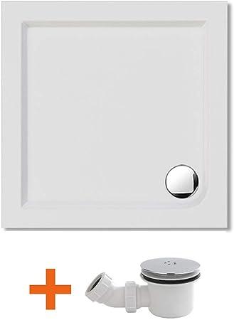 SIRHONA Bac a douche rectangulaire blanc 120x70x4 cm receveur de douche acrylique