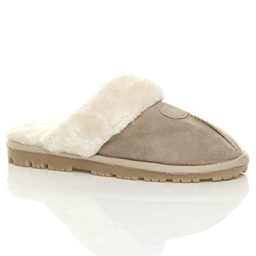 Herren Luxuriös Warm Winter Pelz Gefüttert Gemütlich Geschenk Hausschuhe Pantoffeln Größe Beige