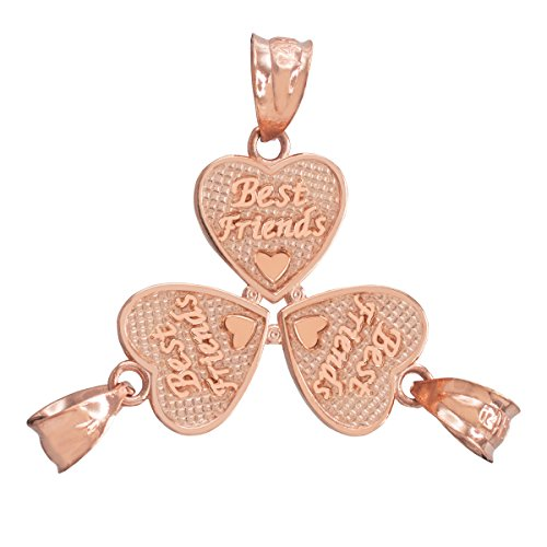 14 ct 585/1000 - 3pc Rose Or 'Best Friends' Coeur Charme Set Pendentif