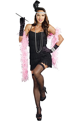 Dreamgirl Women's Flapper Costume, Black, (Black Flapper Dress Halloween Costumes)