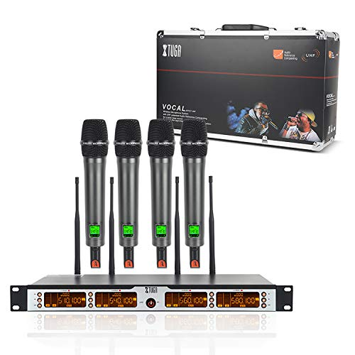 (XTUGA SKM4000PLUS 4 x100 Channel UHF Wireless Handheld Microphone System with Selectable Frequencies Prevent Interference, Use for Family Party, Church, Small Karaoke Night (Range:200-320Ft))