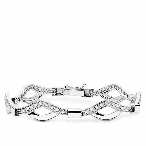 Bracelet 18k or blanc zircone cubique 18.5cm. [AA1657]