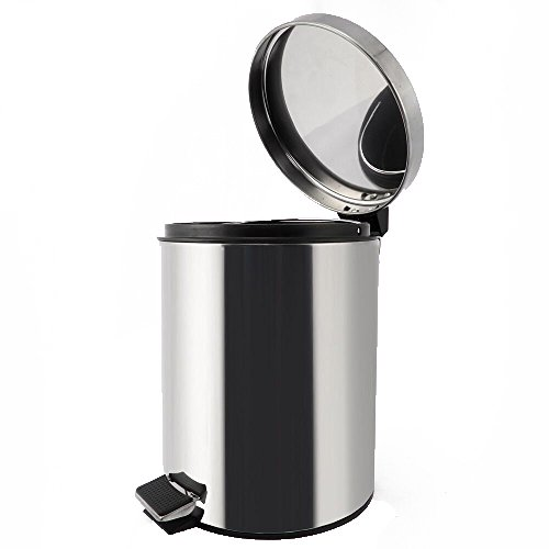 Juvale Stainless Steel Trash Can - Step Trash and Recycling Bin for Bathroom, Living Room, Office - 10.75 Inches in Height, 8 Inches in Diameter