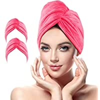 MASBRILL Microfibre Hair Towel Wrap, 2 Pack Anti Frizz Hair Drying Towel with Button for Women, 10 inch X 26 inch Ultra Absorbent Quick Dry Hair Turban Cap for Curly, Long & Thick Hair