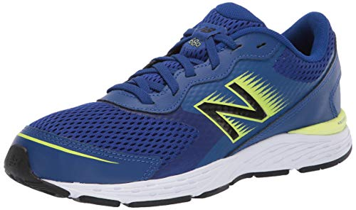 New Balance Boys' 680v6 Running Shoe, Marine Blue/Lemon Slush/Black, 4 W US Big Kid
