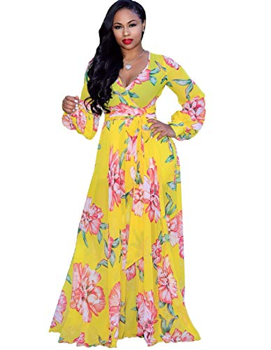 Bushangban Womens Chiffon V Neck Floral Printed Maxi Dress Unique Loose Summer Boho Beach Dresses High Waisted Yellow (Printed Chiffon)
